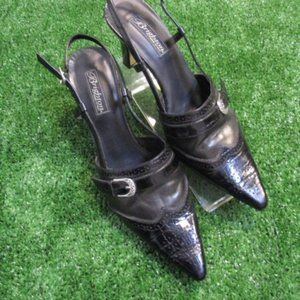 Brighton Black Leather Mersey Slingbacks Shoes 9.5